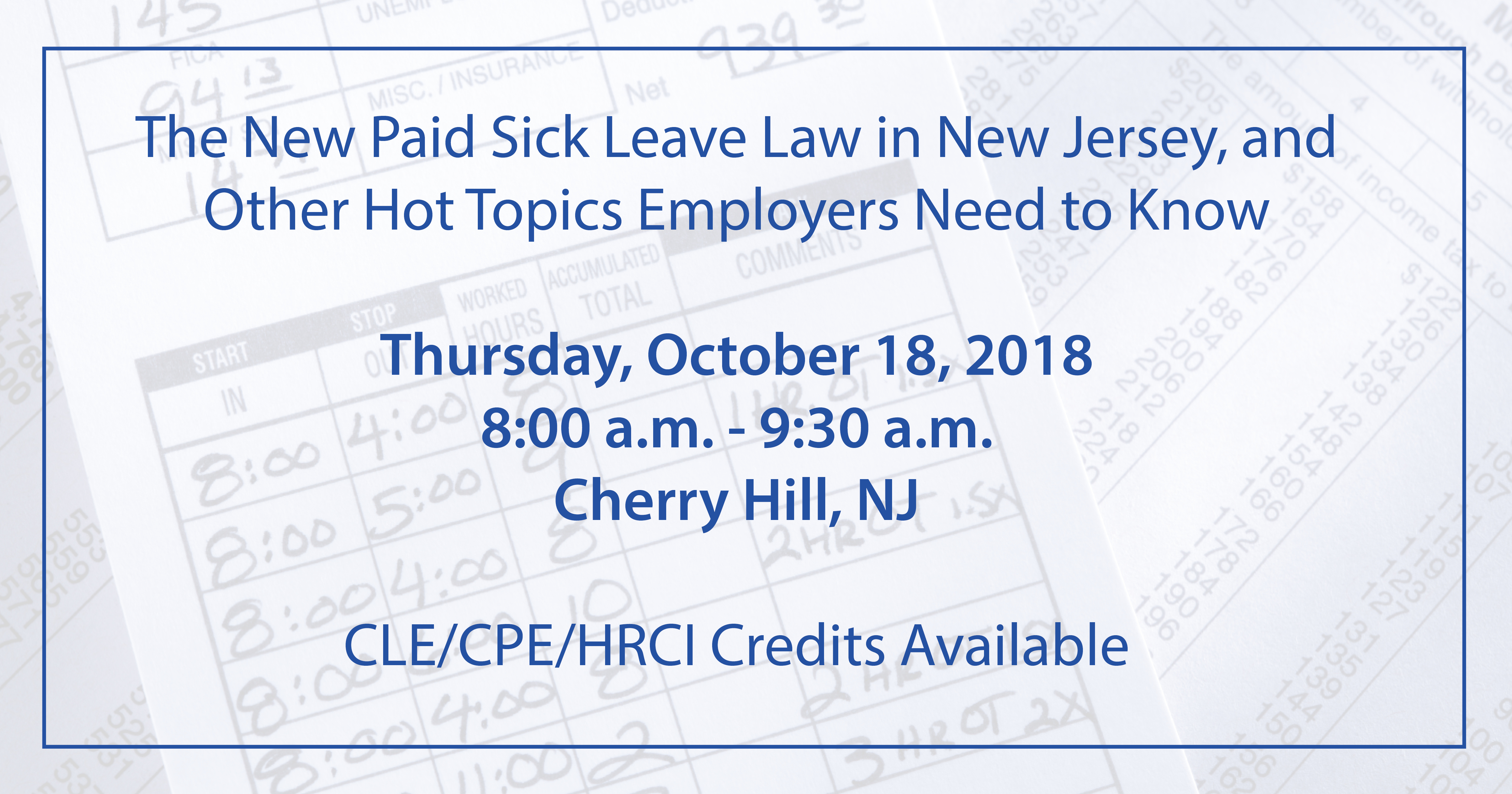 The New Paid Sick Leave Law In New Jersey Other Hot Topics